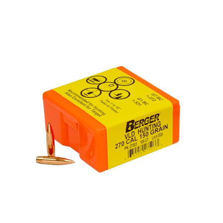 "Berger Rifle Bullets 270 cal (.277"") 150gr Match VLD Hunting - 100/bx"