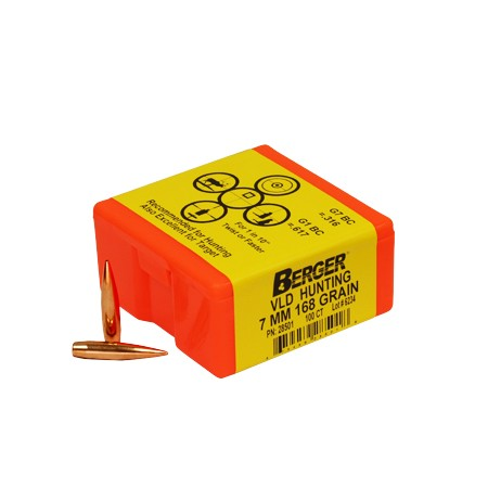 "Berger Rifle Bullets 7mm (.284"") 168gr Match VLD Hunting - 100/bx"