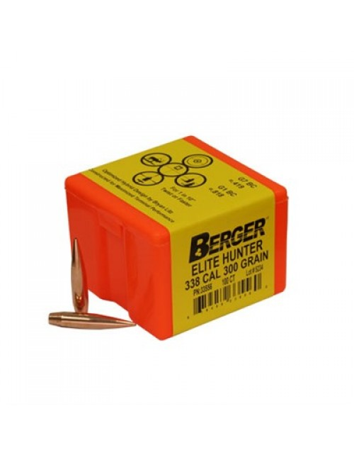 "Berger Rifle Bullets 338 cal (.338"") 300gr Elite Hunter - 100/bx"