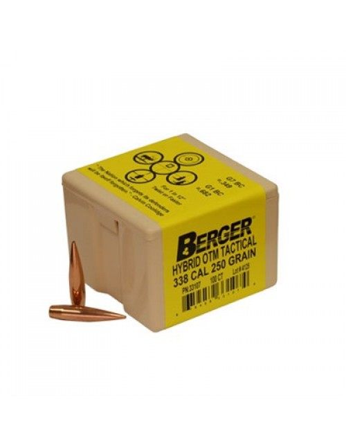 "Berger Rifle Bullets 338 cal (.338"") 250gr Match Hybrid OTM Tactical - 100/bx"