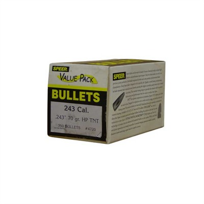 "Speer Rifle Bullets 6mm (.243"") 70gr Varmint TNT HP Value Pack - 750/bx"